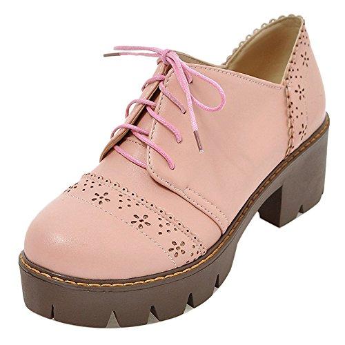 COOLCEPT Zapatos Moda de Tacon Chunky con Tobillera para Mujer Pink