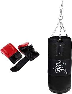 Baoblaze Sac de Boxe Creux en Toile de Fitness et Gants de Boxe pour Training Gants de Kickboxing MMT