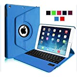 myBitti 360 Degree Rotating Stand Cover with Magnetically Detachable Wireless Bluetooth Keyboard for Apple iPad Air / iPad 5 (5th Generation) - BLUE