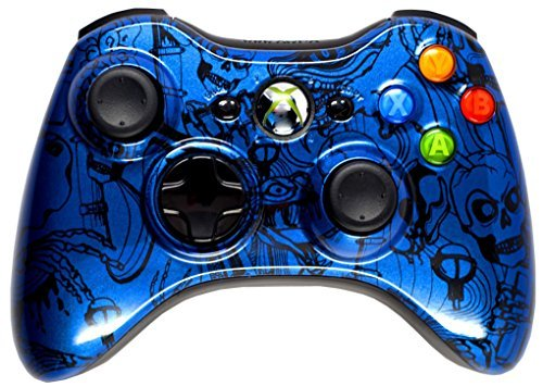 BLUE CRAZY SKULLS 5000+ Modded Xbox 360 Controller, Works with all games Including COD Black Ops 3