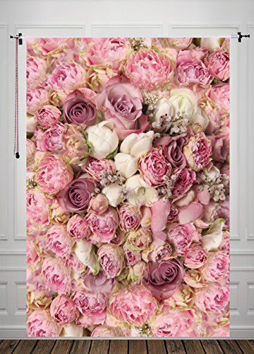 5X7ft Rose Floral Wall Newborns Portraits Photography Backdrop Art Fabric studio pink flowers wall photo backdrop D-8059