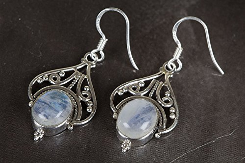 Genuine Moonstone Sterling Silver Earring-Blue Flash Earring-Healing Psychic Crystal-Bridesmaid Earring-Chandelier Moonstone Earring