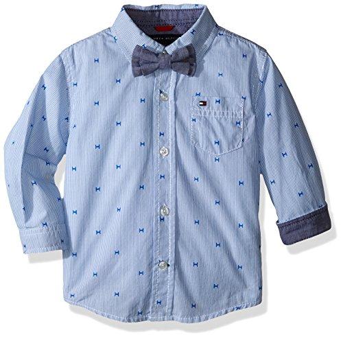 Tommy Hilfiger Baby Boys' H Yarn Dyed Stripe Shirt, Electric Blue, 24 Months