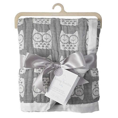 Living Textiles Muslin Textured Blanket – Grey Owl – Lightweight Double-Layered Muslin, Premium Cotton W/Satin Trim, Soft And Breathable, Ideal Swaddling Blanket -