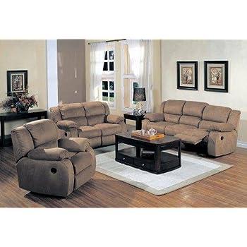 e412c77bd Amazon.com  Belmont Saddle Microfiber 3 pc Reclining Living Room Set ...