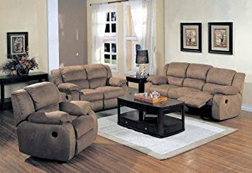 Amazon.com: Belmont Saddle Microfiber 3 pc Reclining Living Room ...