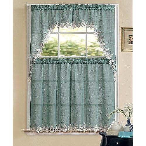 Sheer Kitchen Curtains Amazon Com: Sheer Curtain Valance Sets: Amazon.com