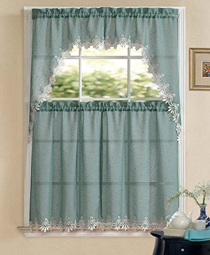 Orchard Luxurious Matte Sheer & Macrame Kitchen Curtain Tier & Swag Set by GoodGram® – Assorted Colors (Blue)