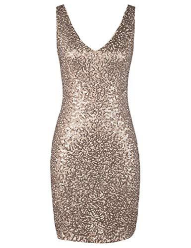 kayamiya Women's Party Dress Sparkle Sequin V Neck Bodycon Club Dress XL Champagne