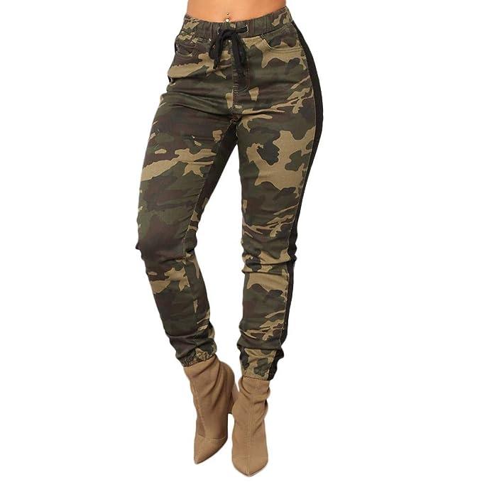 35d715283f86 Bodbii Pantalones de cintura alta elástico de las mujeres delgadas de  camuflaje con cordón de impresión noveno Pantalones: Amazon.es: Ropa y  accesorios