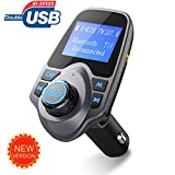 Bluetooth FM Transmitter, [Newest Version] [Top-Rated]Pictek FM Transmitter For Car, Hands-Free Bluetooth Car Kit, with 2 USB Charging Port, 3.5mm Audio Port, 1.44 LCD Inches Screen Display Work