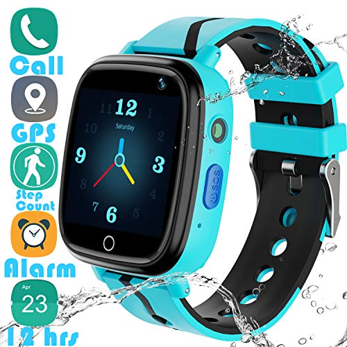 "Kids Smart Watch GPS Tracker - 2019 New Waterproof Children Smart Watches with 1.4"" Touch Screen 12 hrs SOS Phone Call Talkie Walkie Pedometer Fitness Sports Band for Boys Girls Age 4-12 (Blue)"