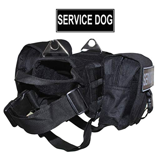 haoyueer Military Tactical Dog Vest Harness Pack Hound Travel Camping Hiking Backpack Saddle Bag Rucksack & Label Patches for Medium & Large Dogs
