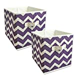 "DII Home Essentials Foldable Fabric Storage Containers for Nurseries, Offices, Closets, Home Décor, Cube Organizers & Everyday Use, 11 x 11 x 11"", Chevron Eggplant - Set of 2"