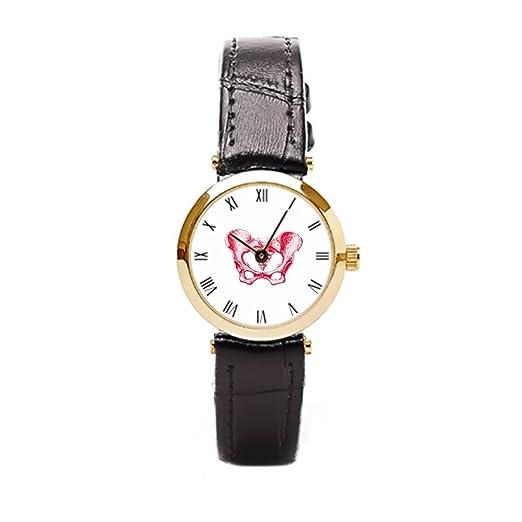 aromar hembra Pelvis rojo funda de piel correa de piel relojes para mujer negro de esqueleto humano pélvica Tattoo anatómico para mujer reloj de pulsera: ...