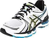 ASICS Men's GEL-Kayano 18 Running Shoe,White/Black/Hot Blue,10.5 M US