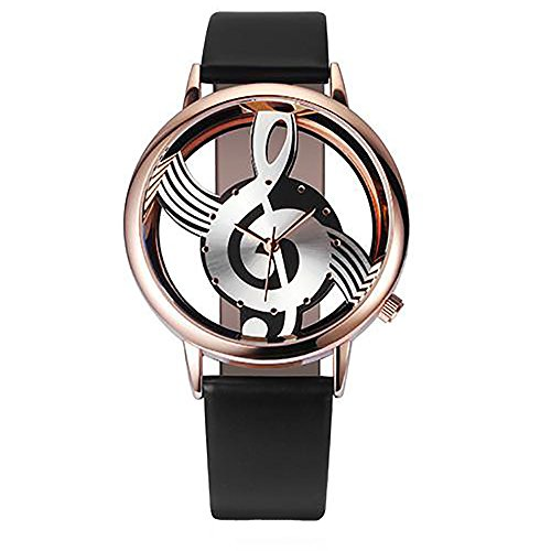 Women's Note Music Notation Analog Quartz Wrist Watch in Leather (Black, One)