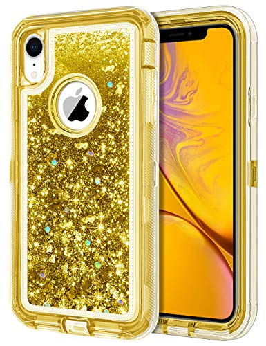 JAKPAK Case for iPhone XR Case Glitter Bling Sparkle for Girls Woman iPhone XR Case Heavy Duty Shockproof Full Body Protective Shell Hard PC Bumper and TPU Back Cover for iPhone XR 10R Yellow ()