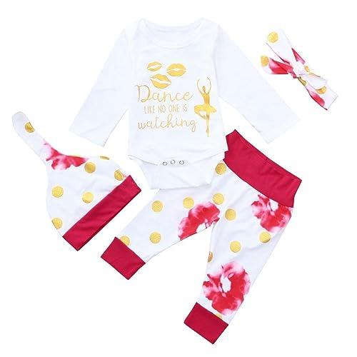c6fdbeee2 Amazon.com  Baby Girl Boy 4pcs Set Outfit Unisex Long Sleeve ...