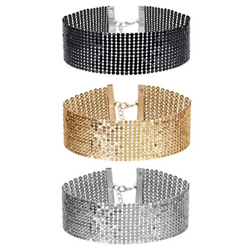 Tpocean 3 Pcs Womens Gold and Black Thick Rhinestone Metal Sequins Choker Necklace Set for Girls
