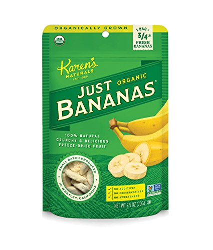 Karen's Naturals Organic Just Banana, 2.5 Ounce Pouch (Packaging May Vary) Organic All Natural Freeze-Dried Fruits & Vegetables, No Additives or Preservatives, Non-GMO