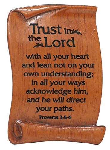 trust in the lord scroll plaque wood magnet christian gift 7cm proverbs 35