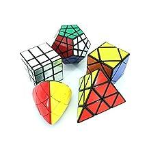 I-xun Magic Cube Puzzle Set of Pyraminx, Meganminx, Skewb, Mastermorphix, 3x3 Mirror Cube - 5 Pack