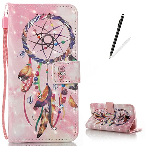 Maya Diamond Necklace (KaseHom Samsung Galaxy A520 Leather Case + [Free Black Stylus Pen],Wind Chimes Painted Pattern Shiny Glitter Diamond Flip Magnetic Wallet Holster with [Card Slots] Shockproof Protective Cover)