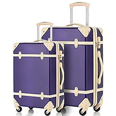 Merax® Travelhouse 2 Piece ABS Luggage Set Vintage Suitcase (Violet&Ivory)