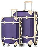 Merax Travelhouse 2 Piece ABS Luggage Set Vintage Suitcase (Violet&Ivory.)