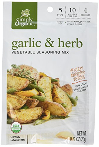Simply Organic Crazy Awesome Veggies Seasoning Mix, Garlic and Herb, 0.71 Ounce (Pack of 12) ()