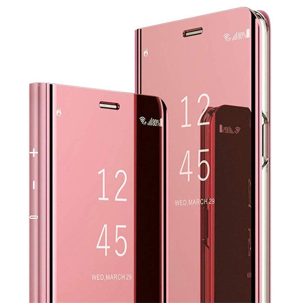 PHEZEN Case for Samsung Galaxy Note 10 Plus Wallet Case Mirror Makeup Case Clear View Window Plating PU Leather Flip Case with Kichstand Full Body Protective Case for Galaxy Note 10 Plus,Rose Gold by PHEZEN