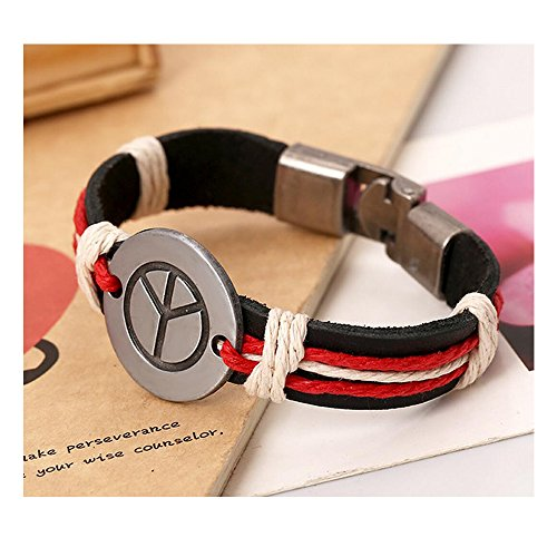 Fariishta Jewelry Fashion Retro Peace sign Leather Bracelet£¨black£