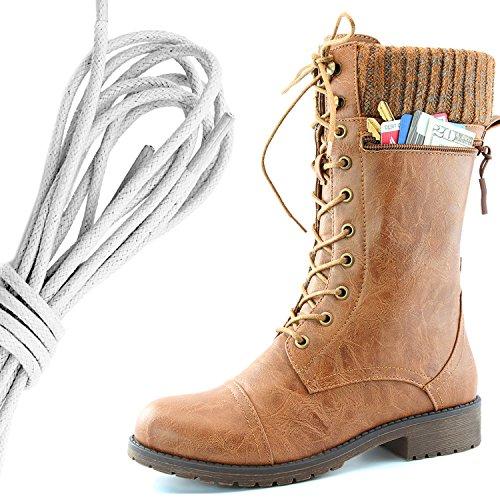 Dailyshoes Womens Bekämpa Stil Snörning Fotled Toffeln Rund Tå Militära Sticka Kreditkorts Kniv Pengar Plånbok Ficka Stövlar, Elfenben Tan Pu