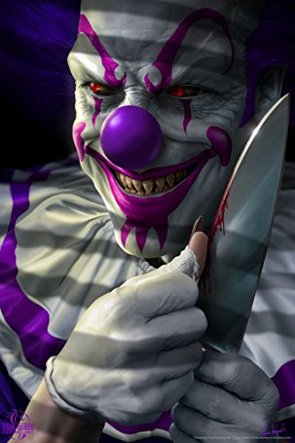 Mischief The Clown Die Laughing Scary Tom Wood Fantasy Art Poster 12x18 -