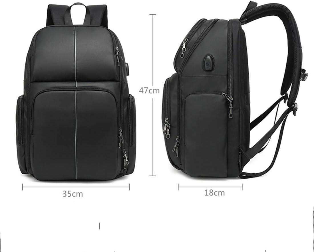 B&H-ERX Zaino da Viaggio antifurto per Laptop da Scuola Zaino Grande da Viaggio con Porta di Ricarica USB Zaino Casual Idrorepellente per Affari/College/Uomini/Donne Black