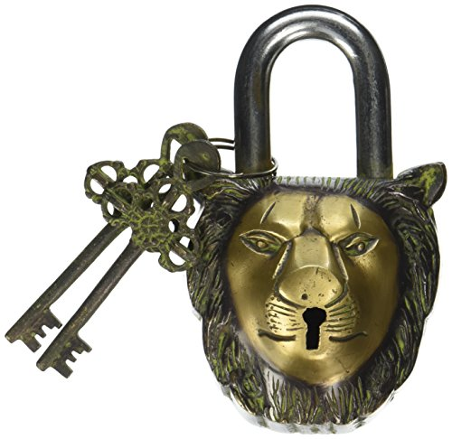 Functional Brass Garden Padlock in Lion Head