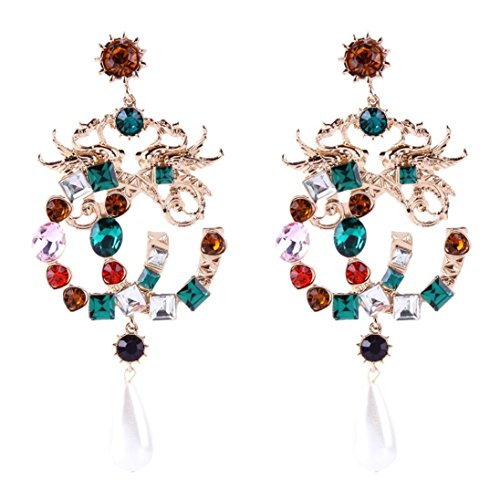 Earrings Sapphire Dragonfly (Yeefant 1 Pair Fashion Steel Gold Diamond Stud Jewelry Earring for Girl)