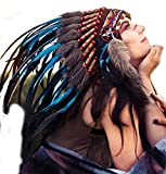 N55 Short Turquoise Feather Headdress | Native American Indian Inspired.