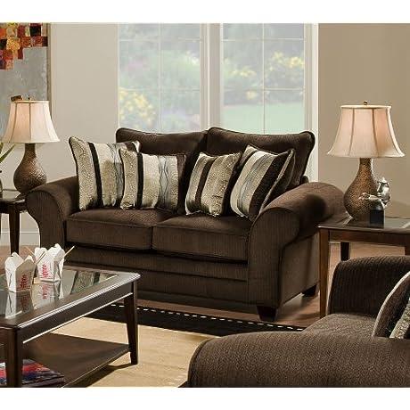 Chelsea Home Furniture Clearlake Loveseat Waverly Godiva Kendu Onyx Pillows 2
