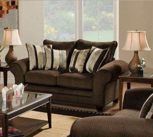 Chelsea Home Furniture Clearlake Loveseat, Waverly Godiva/Kendu Onyx Pillows(2) by Chelsea Home Furniture