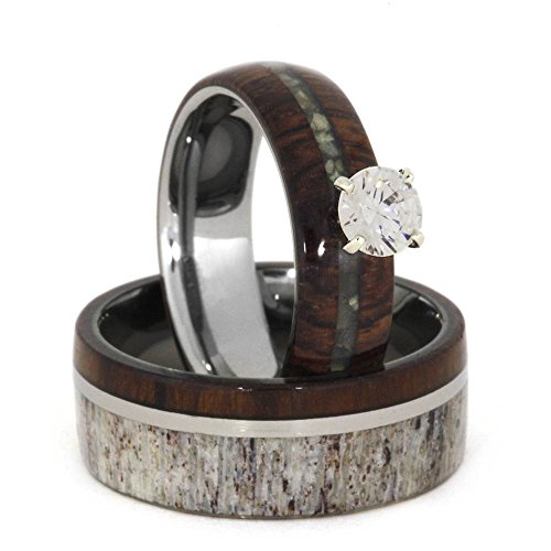Diamond, Mother of Pearl, Ironwood 10k White Gold Ring and Deer Antler, Ironwood Titanium Band, Couples Wedding Set, M812-F6 by The Men's Jewelry Store (Unisex Jewelry)