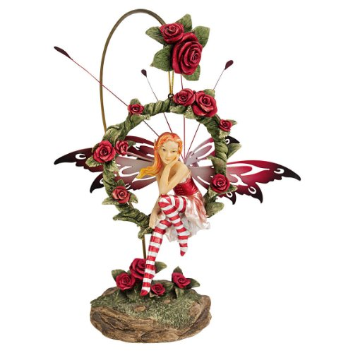 Design Toscano Radiant Rose Fairy Dangling Statue with Display Stand, 9 Inch, Polyresin, Full Color