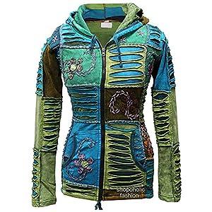 Mezcla De Azul flor bordado piexie con capucha cortes de navajas étnico hippy con capucha boho chaqueta | DeHippies.com
