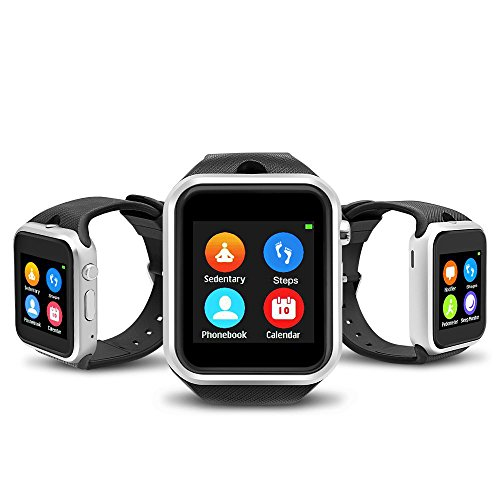 YUNTAB Touch Screen Smartwatch, with SIM Slot, Phone Call SMS MMS Supported, Compatible for iOS & Android, Built in Camera/Calculation/Pedometer/Sleep Mode/Remote Camera/Flight Mode(GD19S-Silver)
