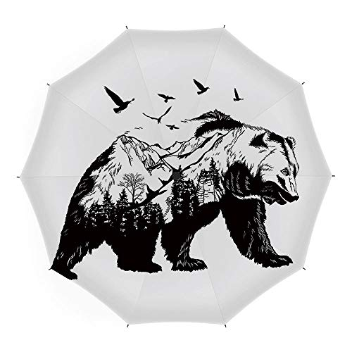 Travel Umbrella,Bear,10 Ribs Finest Windproof Umbrella with Teflon Coating, Auto Open Close and Upgraded Comfort Handle 45 Inch,Mammal Silhouette with Mountain Landscape Flying Birds and Forest ()