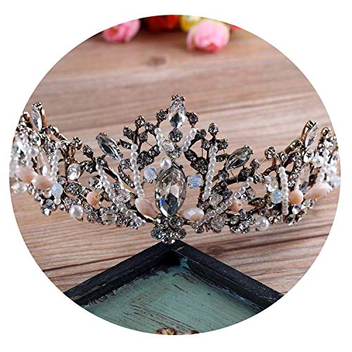 (Women Vintage Crowns Blush Pearl Hair Clip Jewelry Gorgeous Bridal Wedding Hair Accessories Baroque Headband Headpiece Tiaras,Gold-Color )