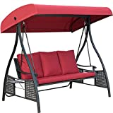 Outdoor Swing Chair, Seats 3 Porch Patio Swing Glider with Durable Stee Frame and Padded Cushion, Red