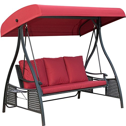 Cheap PatioPost Outdoor Swing Chair, Seats 3 Porch Patio Swing Glider with Durable Stee Frame and Padded Cushion, Red