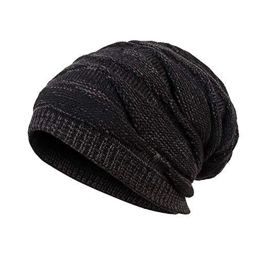 Mens Winter Plus Velvet Warm Knitting Hats Wool Baggy Slouchy Beanie Hat Skull Cap Ski Cap (Black)